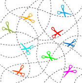 Coupon scissors cut out dotted lines background — 图库矢量图片