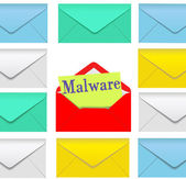 Malware email open envelope security risk — Stock Vector