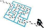 Person solves business problem maze puzzle — Stock Vector