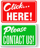 Please contact us click here store signs — Stock Vector