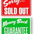 Money Back Guarantee Sorry Sold Out store signs — Stock Vector