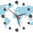 Earth Time clock hands on world map — Stock Photo