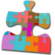 Jigsaw pieces within one colorful puzzling puzzle — Stock Vector