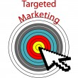 Targeted Marketing pixel cursor clicks bulls eye — Stock Vector