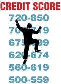 商务人攀爬更好信用分数 — 图库矢量图片