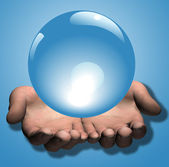 Shiny Blue Crystal Ball in 3D Hands Illustration — Stock Photo