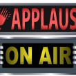 ON AIR & APPLAUSE Theater Broadcasting Studio Signs — Stock Vector #8140983
