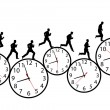 Businessman in a hurry runs on time clocks — Imagen vectorial