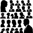 Simple Silhouette Portraits Heads Faces Shoulders Set - Stock Vector
