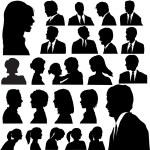Simple Silhouette Portraits Heads Faces Shoulders Set — Stock Vector