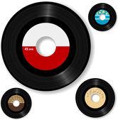 Disque rétro tours 45 étiquettes série — Vecteur
