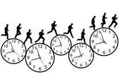 Businessman in a hurry runs on time clocks — Stock Vector