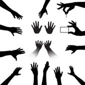 Hands Silhouettes Set — Stock Vector