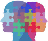 Man Woman face problem puzzle — Stock Vector