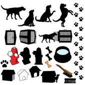 Pet Dog Silhouette Objects — Stock Vector