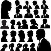 Simple Silhouette Portraits Heads Faces Shoulders Set — Stock Vector
