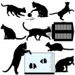 Pet Cat Silhouette Objects — Stock Vector #8294954