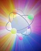 Atomic physics energy atom burst bright rays — Stock Photo