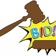 Bid to buy auction gavel cartoon icon — Stock Vector