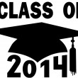 Class of 2014 College High School Graduation Cap — Stock Vector