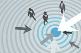 Business arrows target marketing center — Stock Vector