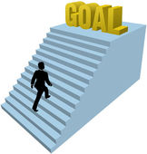 Business person climbs steps achieve goal — Stock Vector