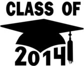 Class of 2014 College High School Graduation Cap — Vector de stock