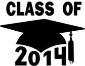 Klass av 2014 college gymnasiet gradering cap — Stockvektor