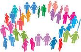 Couples unique rencontrent réseau social media — Vecteur