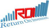 ROI Return on Investment business bar chart — Stock Vector