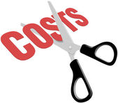 Scissors cut business expense costs — Stock vektor