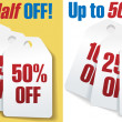 Discount price tags 50 percent off sale — 图库矢量图片