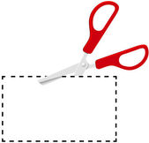 Red scissors cut out coupon on dotted line — Stock Vector
