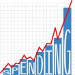 Stock Vector: Government big spending deficit chart