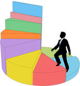 Business person climbs stair step pie chart — Stock Vector