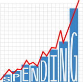 Government big spending deficit chart — Stock Vector
