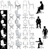 Office business chairs furniture drawings set — Stok Vektör