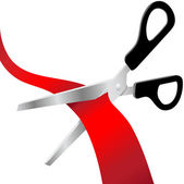 Scissors cut red grand opening ribbon — Stock Vector