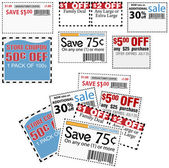 Store sale coupons for savings ads — Stock Vector