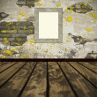 Grunge wall and parquet floor with empty frame. — Stock Photo