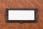 Etiqueta de cajón de archivo en blanco — Foto de Stock