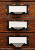 Old File Drawers With Blank Labels — Stock Photo