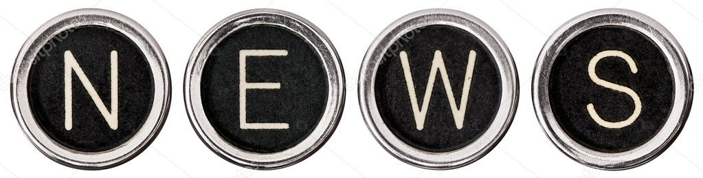 Old, scratched chrome typewriter keys with black centers and white letters spelling out the word, &quot;NEWS&quot;.  Isolated on white with clipping path.  Stock Photo #10502271