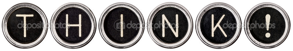 "Old, scratched chrome typewriter keys with black centers and white letters spelling out ""THINK"".  Isolated on white with clipping path. — Stock Photo #10560194"