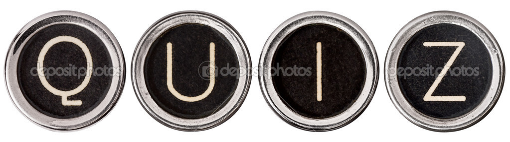 QUIZ spellec out in old, scratched chrome typewriter keys with black centers and white letters.  Isolated on white with clipping path. — Stock Photo #10633565