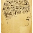 Old Phrenology Illustration - Foto Stock