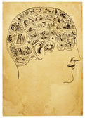 Old Phrenology Illustration — Stock Photo