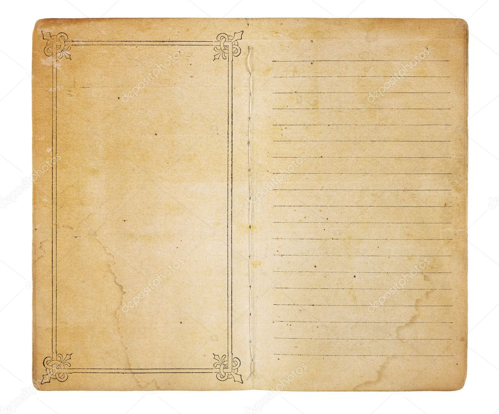 An old memo book opened to reveal yellowing, stained pages. One page is empty except for a border; the other is lined. Both have room for images and text. Isola — Stock Photo #8568483