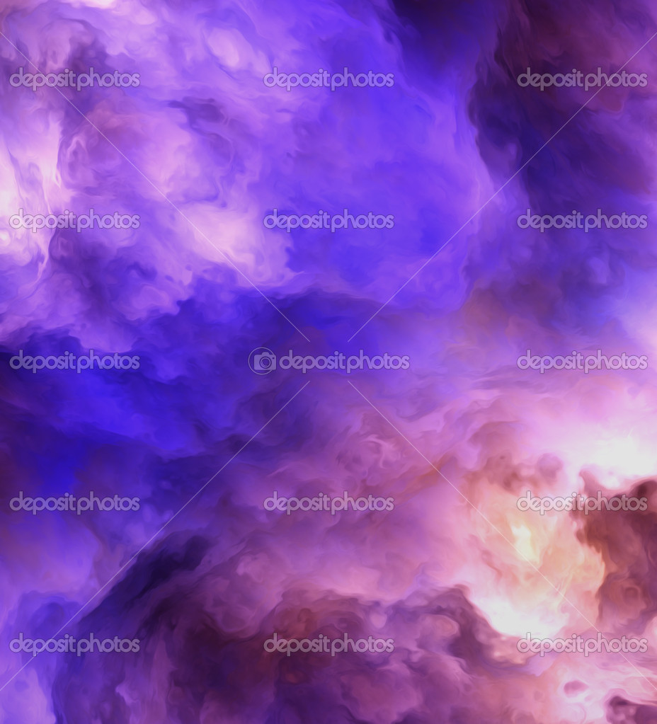 Backlit surreal, stormy clouds shading from dark purples and reds to light blues and yellows symbolizing a range of concepts such as creation, the birth of star — Stock Photo #8569311