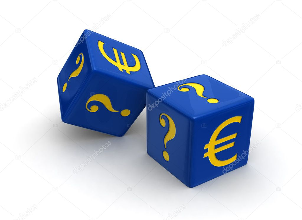 Photo-real illustration of two blue dice engraved with yellow Euro and question mark symbols on white background. — Stock Photo #8569450